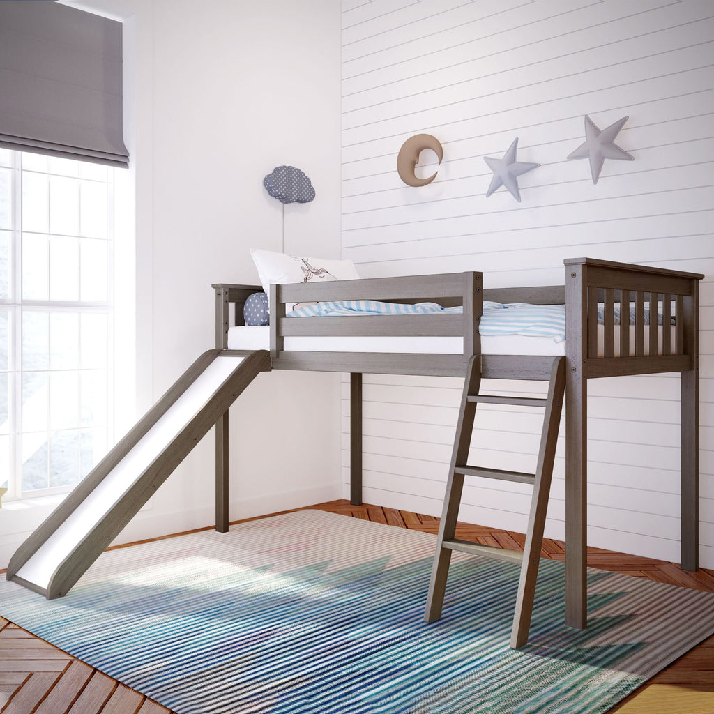 Max & Lily Kid's Twin Size Low Loft with Slide Loft Beds Clay