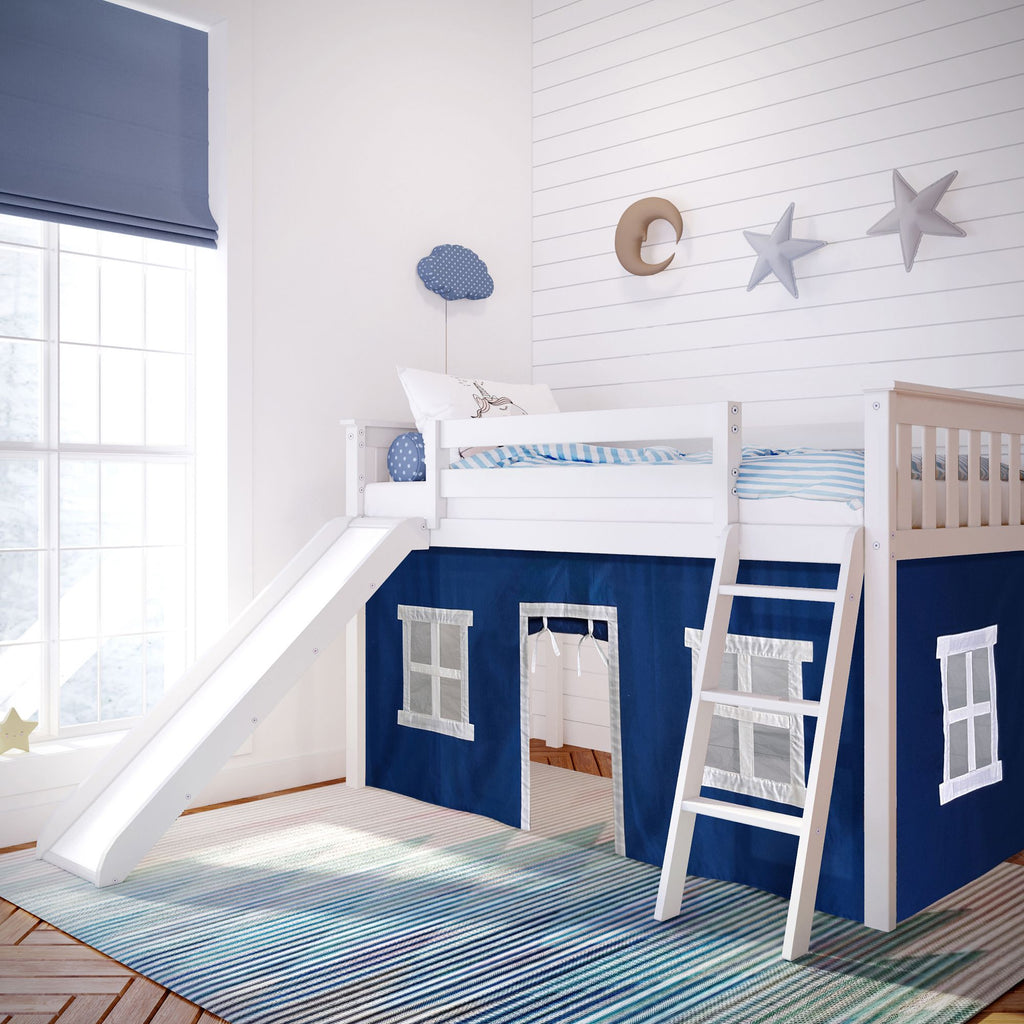 Max & Lily Twin-Size Low Loft with Slide + Curtain Loft Beds White Blue