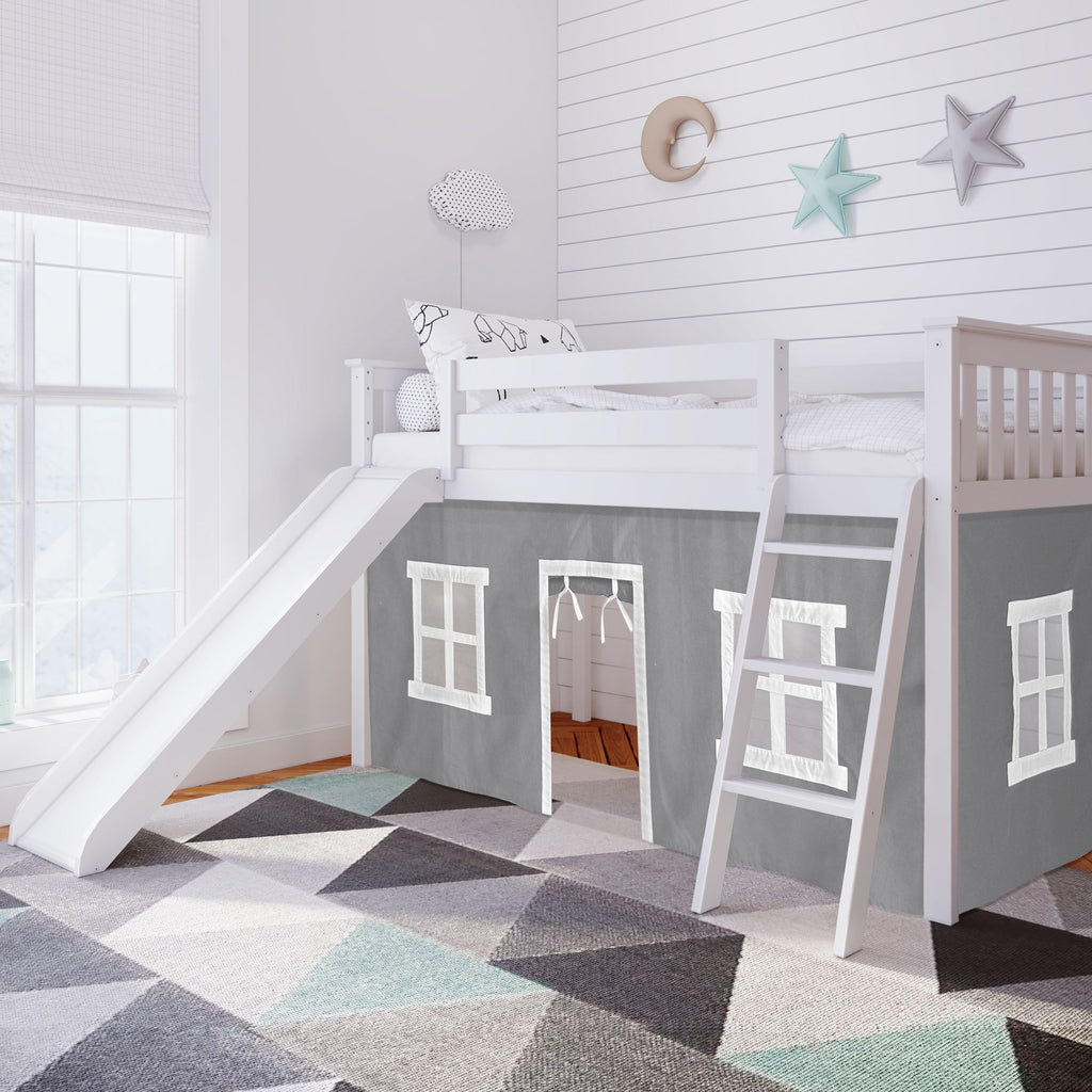 Max & Lily Twin-Size Low Loft with Slide + Curtain Loft Beds White Grey