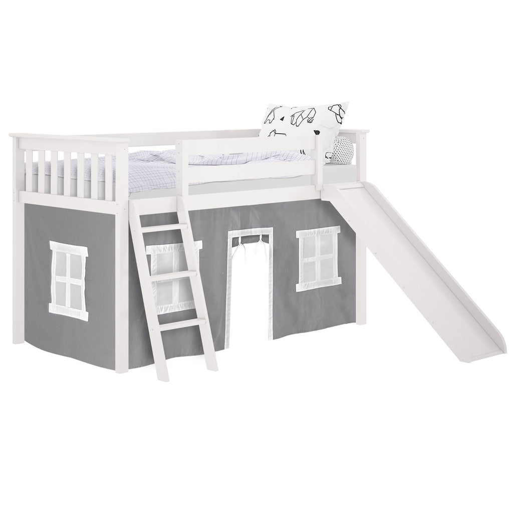 Max & Lily Twin-Size Low Loft with Slide + Curtain Loft Beds