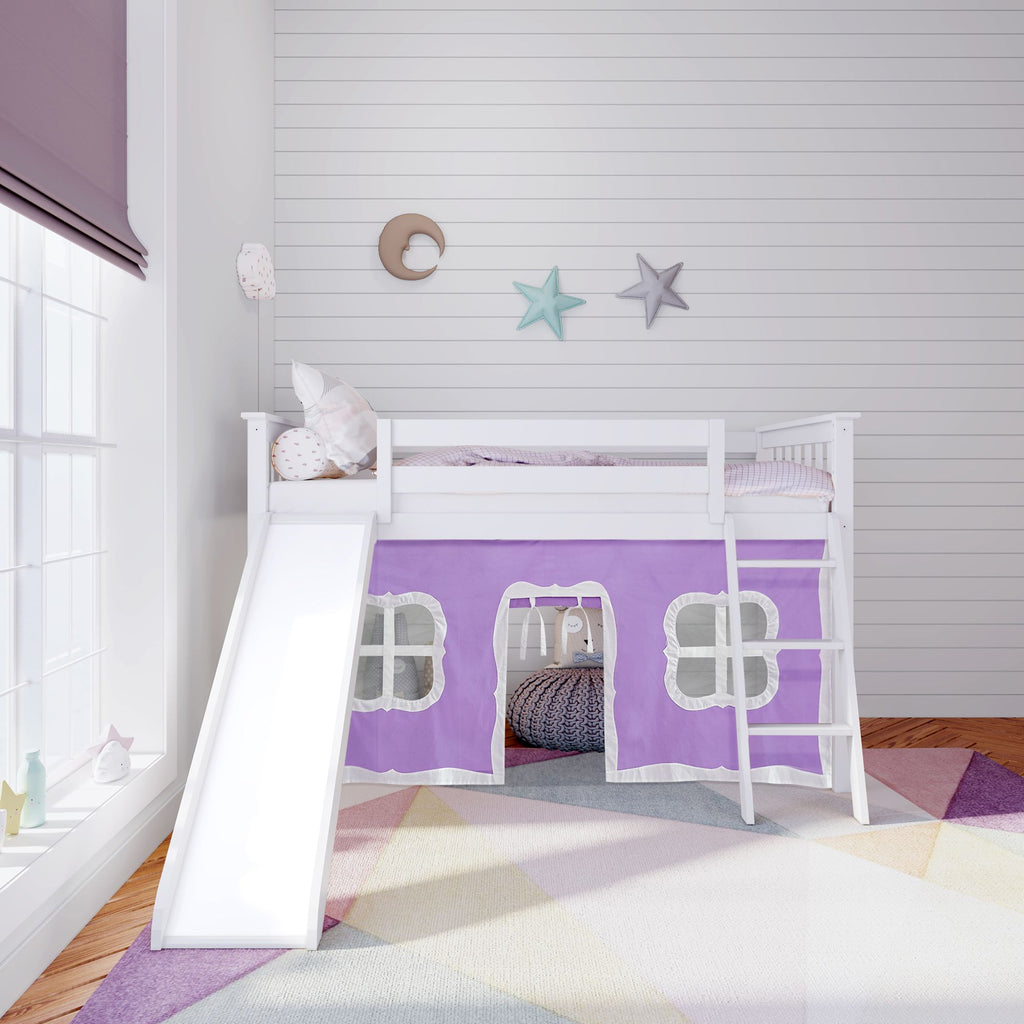 Max & Lily Twin-Size Low Loft with Slide + Curtain Loft Beds White Purple