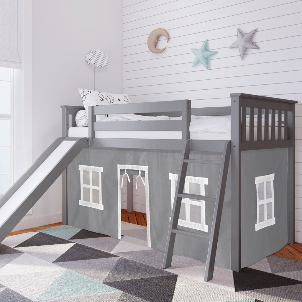 Max & Lily Twin-Size Low Loft with Slide + Curtain Loft Beds Grey Grey