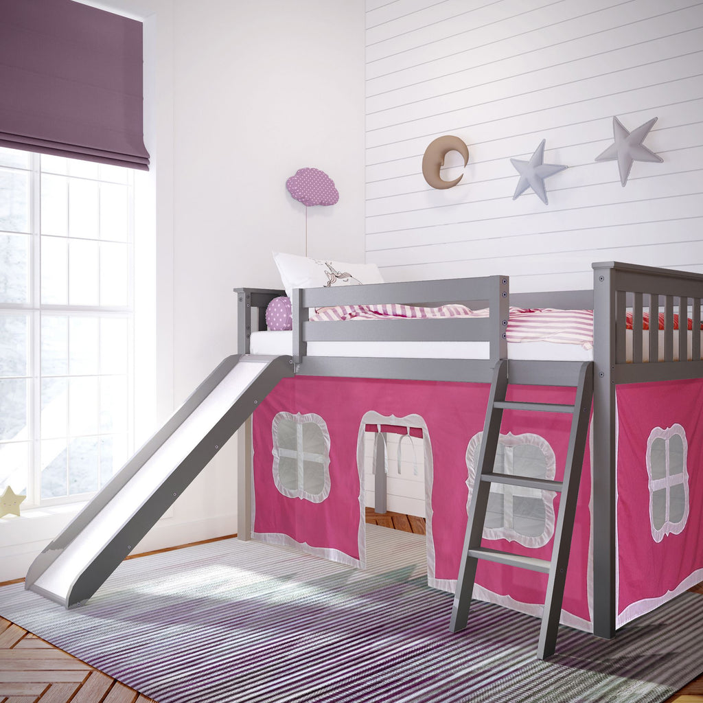 Max & Lily Twin-Size Low Loft with Slide + Curtain Loft Beds Grey Pink