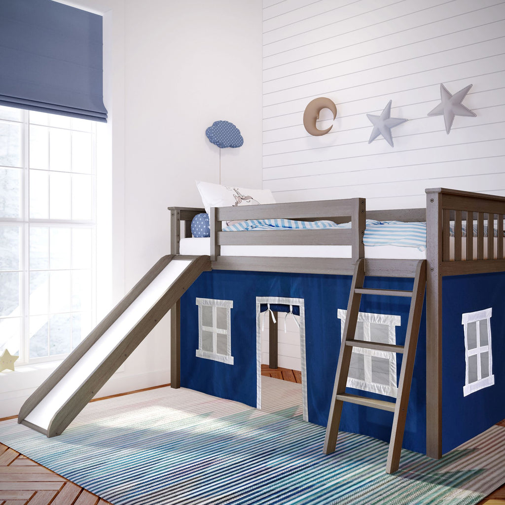 Max & Lily Twin-Size Low Loft with Slide + Curtain Loft Beds Clay Blue