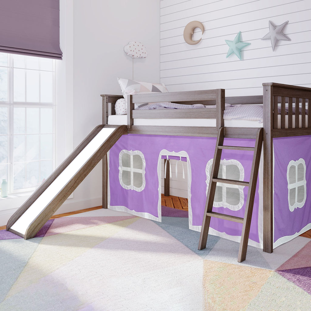 Max & Lily Twin-Size Low Loft with Slide + Curtain Loft Beds Clay Purple