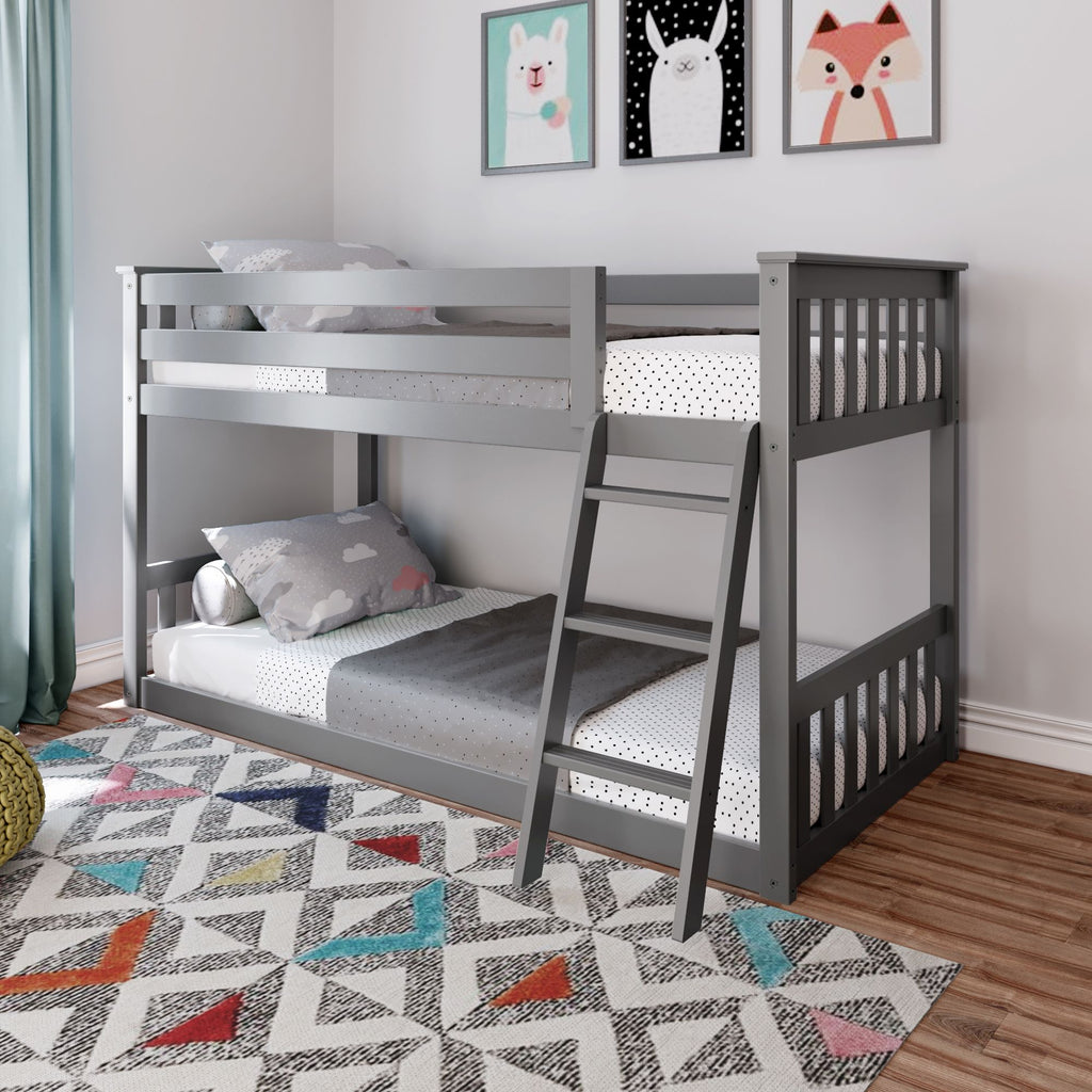 Max & Lily Kid's Twin Over Twin Size Low Bunk Bed Bunk Beds Grey