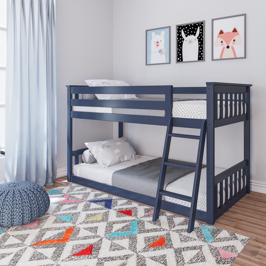Max & Lily Kid's Twin Over Twin Size Low Bunk Bed Bunk Beds Blue