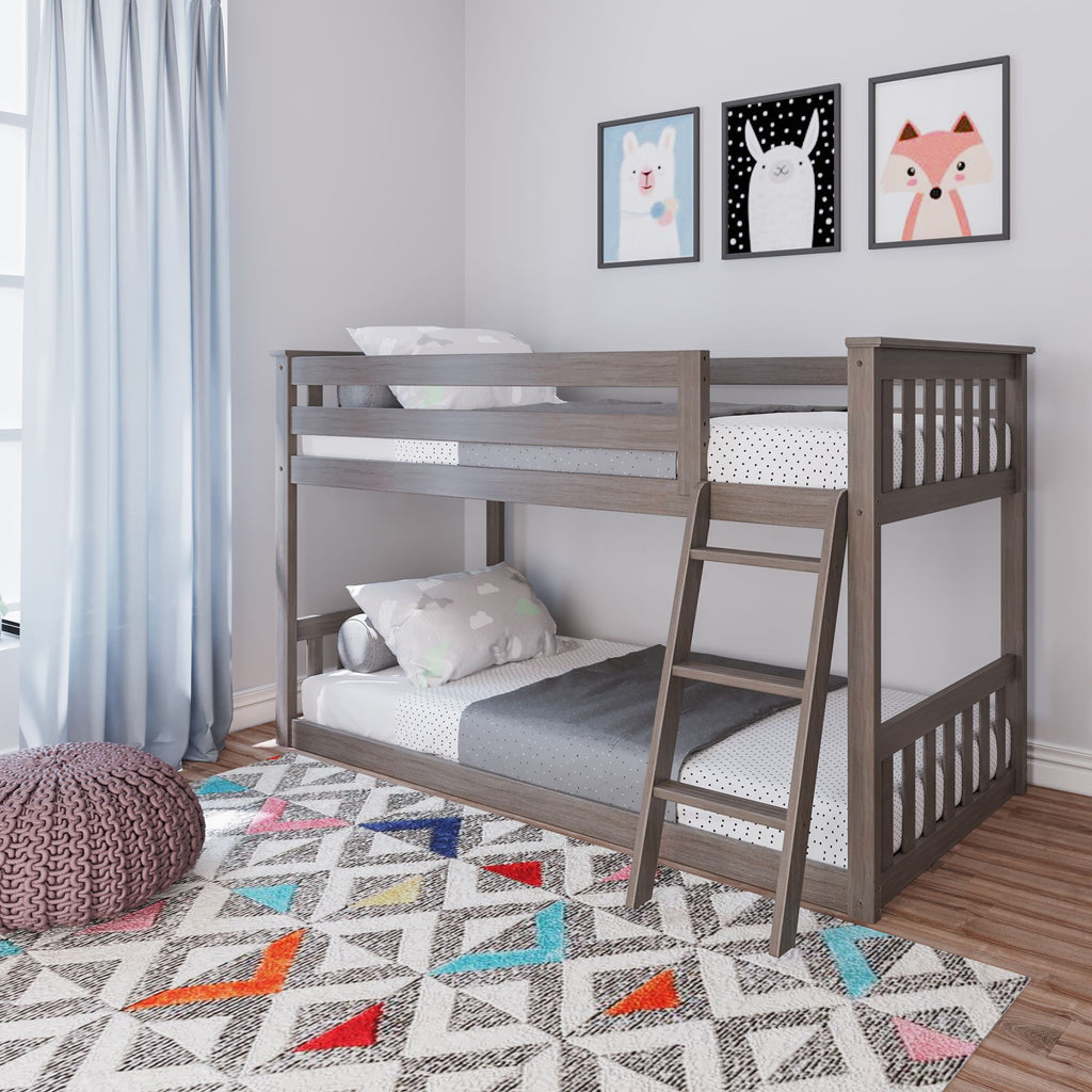 Max & Lily Kid's Twin Over Twin Size Low Bunk Bed Bunk Beds Clay