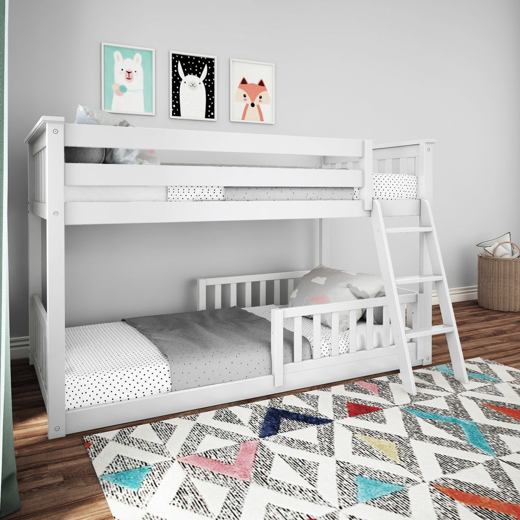 Max & Lily Low Bunk with Single Guard Rail Bunk Beds White Two