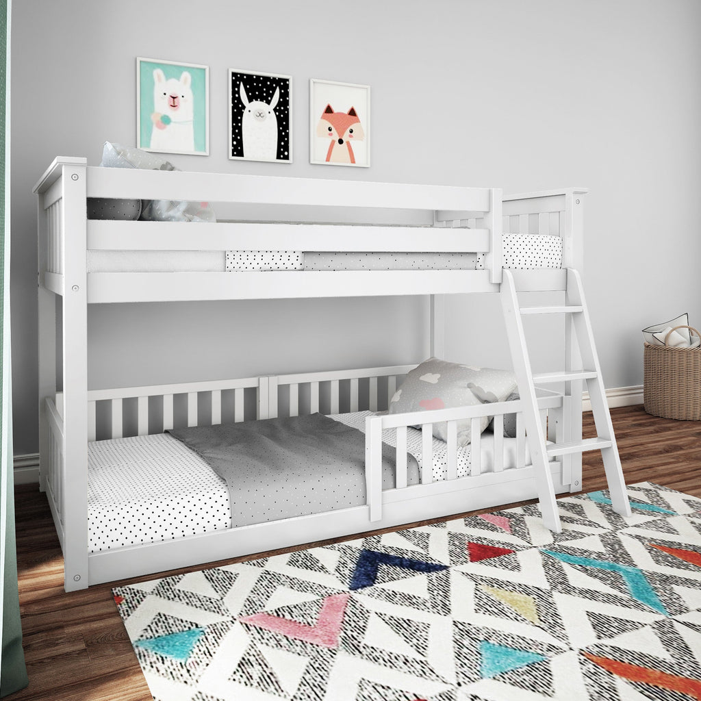 Max & Lily Low Bunk with Single Guard Rail Bunk Beds White Three