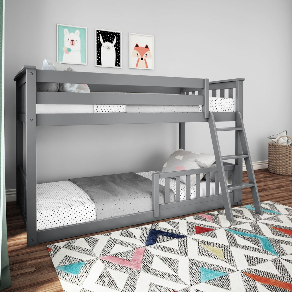 Max & Lily Low Bunk with Single Guard Rail Bunk Beds Grey One
