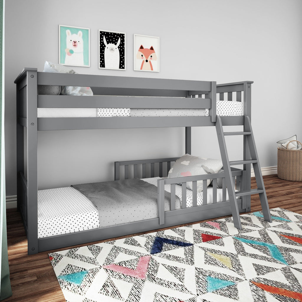Max & Lily Low Bunk with Single Guard Rail Bunk Beds Grey Two