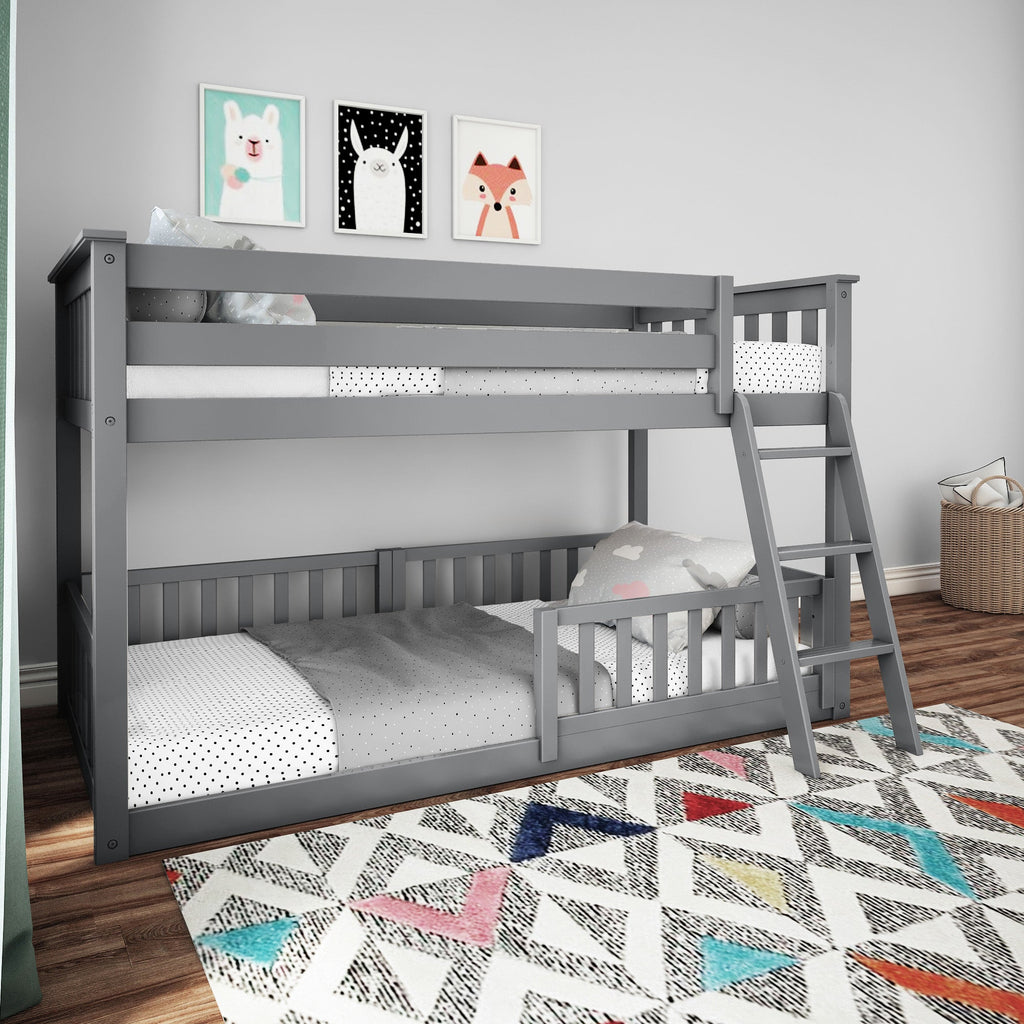 Max & Lily Low Bunk with Single Guard Rail Bunk Beds Grey Three