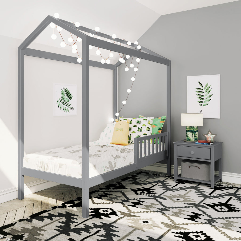 Max & Lily Twin House Bed with Guard Rail Kids Beds Grey One