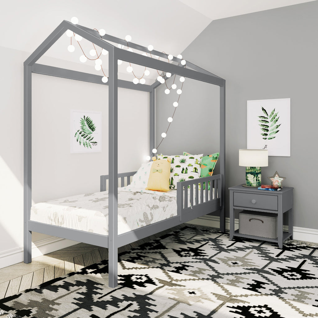 Max & Lily Twin House Bed with Guard Rail Kids Beds Grey Two