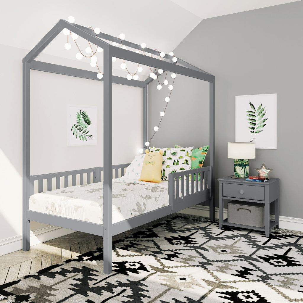 Max & Lily Twin House Bed with Guard Rail Kids Beds Grey Three