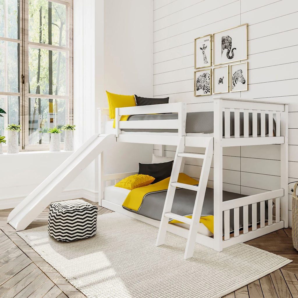Max & Lily Kid's Twin Over Twin Size Low Bunk Bed with Slide Bunk Beds White