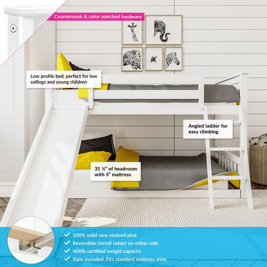 Max & Lily Kid's Twin Over Twin Size Low Bunk Bed with Slide Bunk Beds