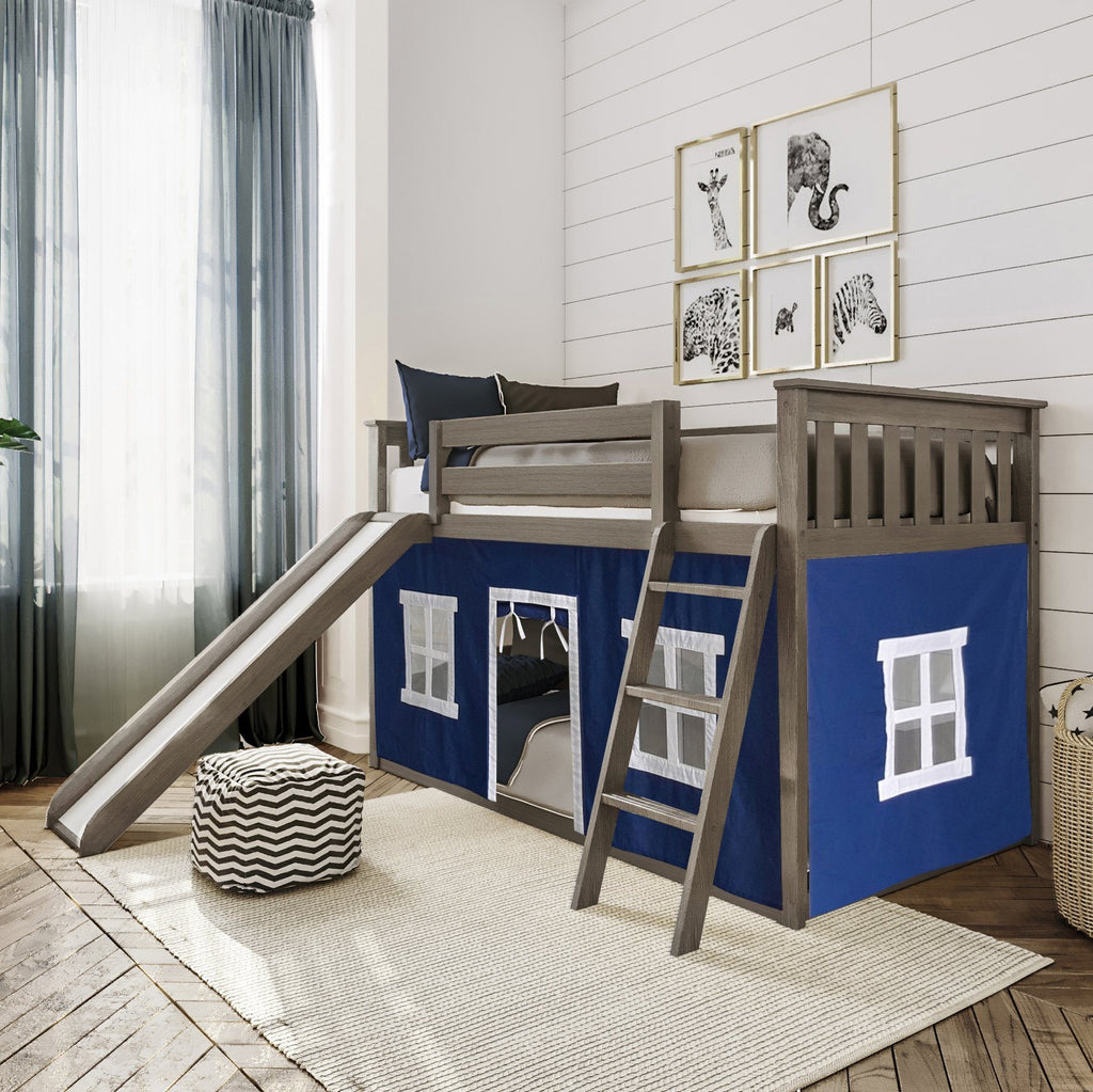 Max & Lily Twin-Size Low Bunk with Slide + Curtain Bunk Beds Clay Blue