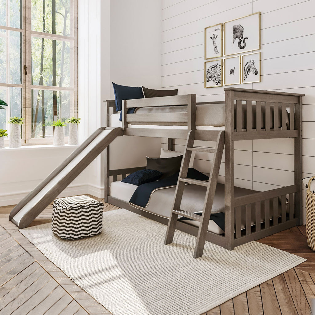 Max & Lily Kid's Twin Over Twin Size Low Bunk Bed with Slide Bunk Beds Clay