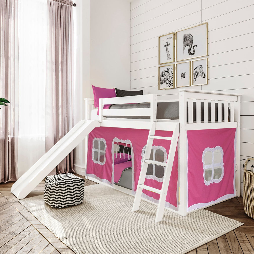 Max & Lily Twin-Size Low Bunk with Slide + Curtain Bunk Beds White Pink