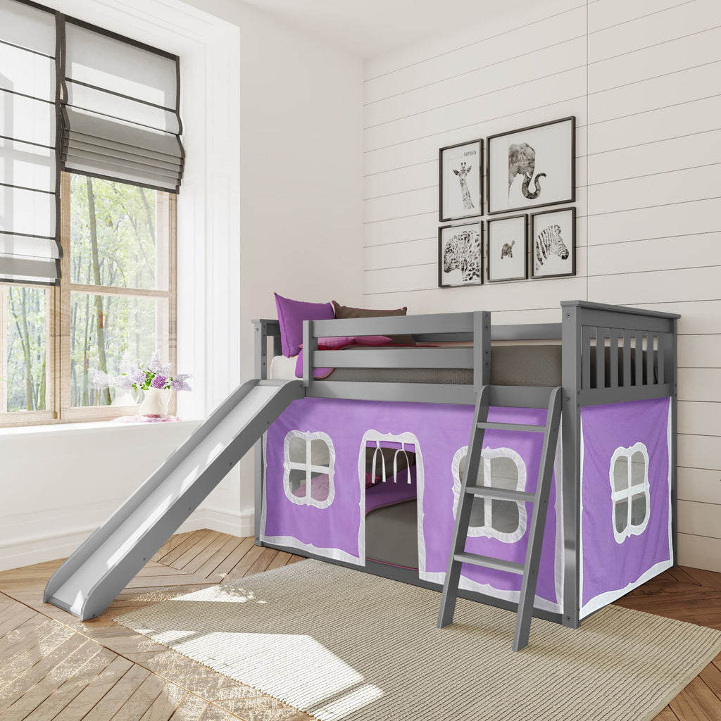 Max & Lily Twin-Size Low Bunk with Slide + Curtain Bunk Beds Grey Purple