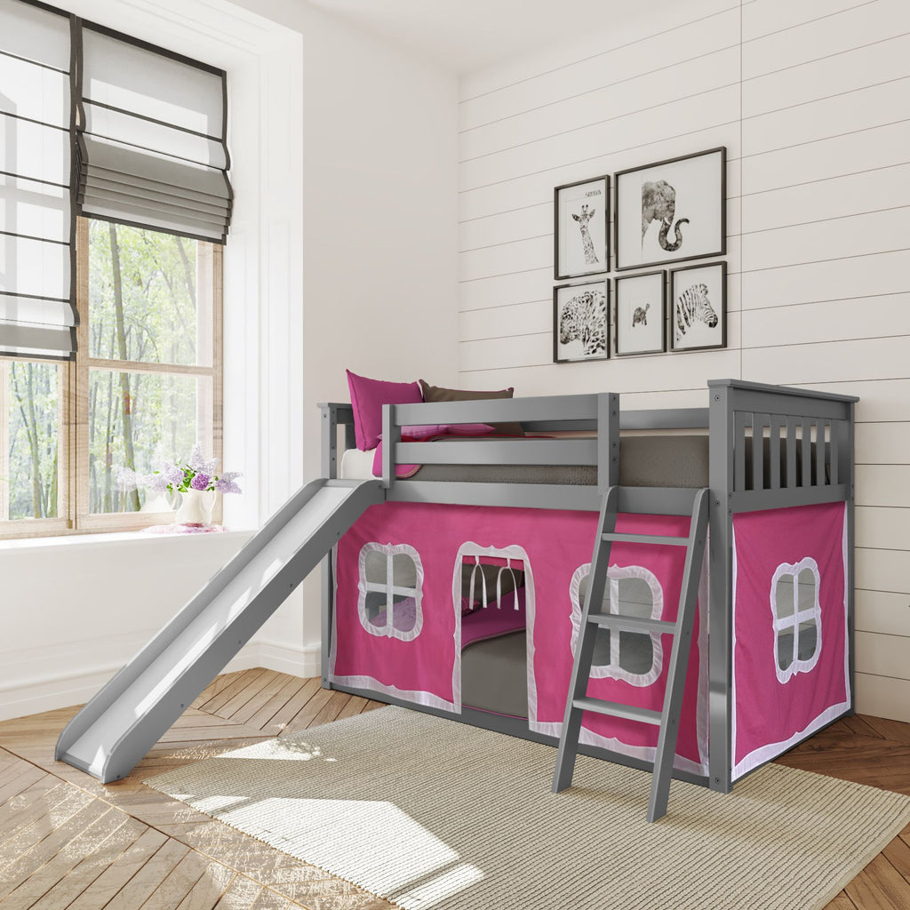 Max & Lily Twin-Size Low Bunk with Slide + Curtain Bunk Beds Grey Pink