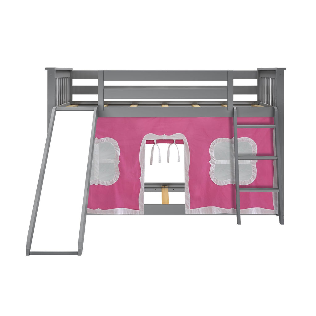 Max & Lily Twin-Size Low Bunk with Slide + Curtain Bunk Beds