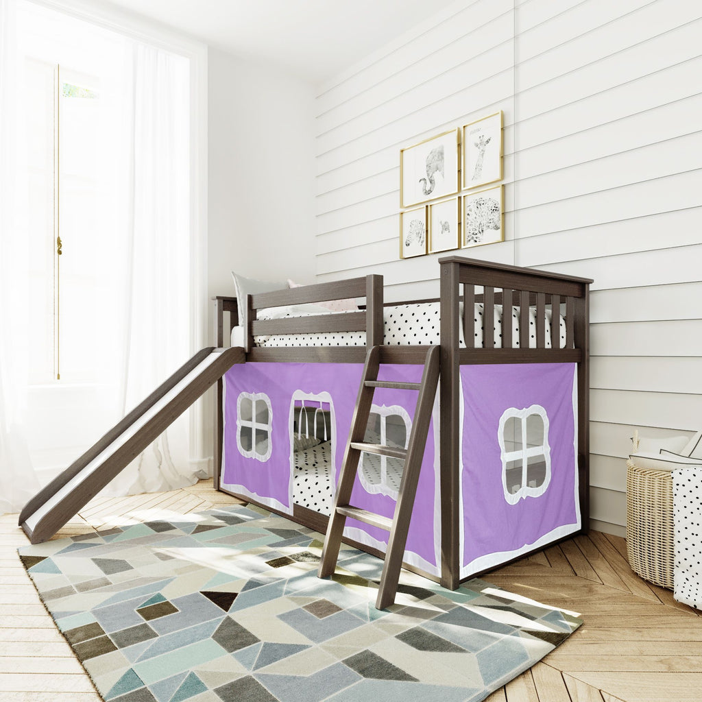 Max & Lily Twin-Size Low Bunk with Slide + Curtain Bunk Beds Clay Purple