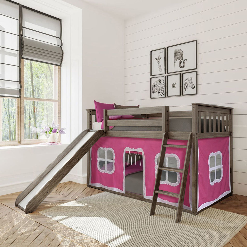 Max & Lily Twin-Size Low Bunk with Slide + Curtain Bunk Beds Clay Pink