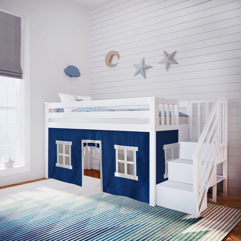 Max & Lily Twin-Size Low Loft with Stairs + Curtain Loft Beds White Blue