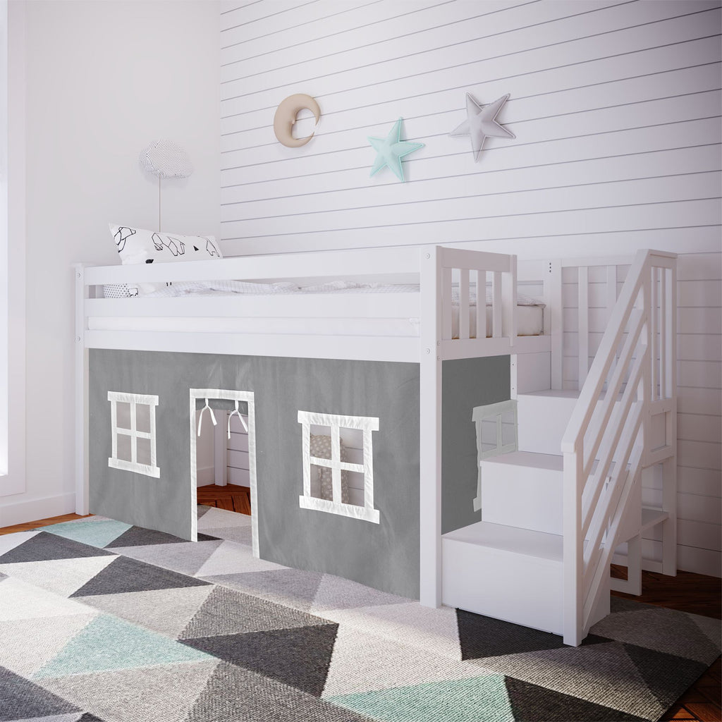 Max & Lily Twin-Size Low Loft with Stairs + Curtain Loft Beds White Grey