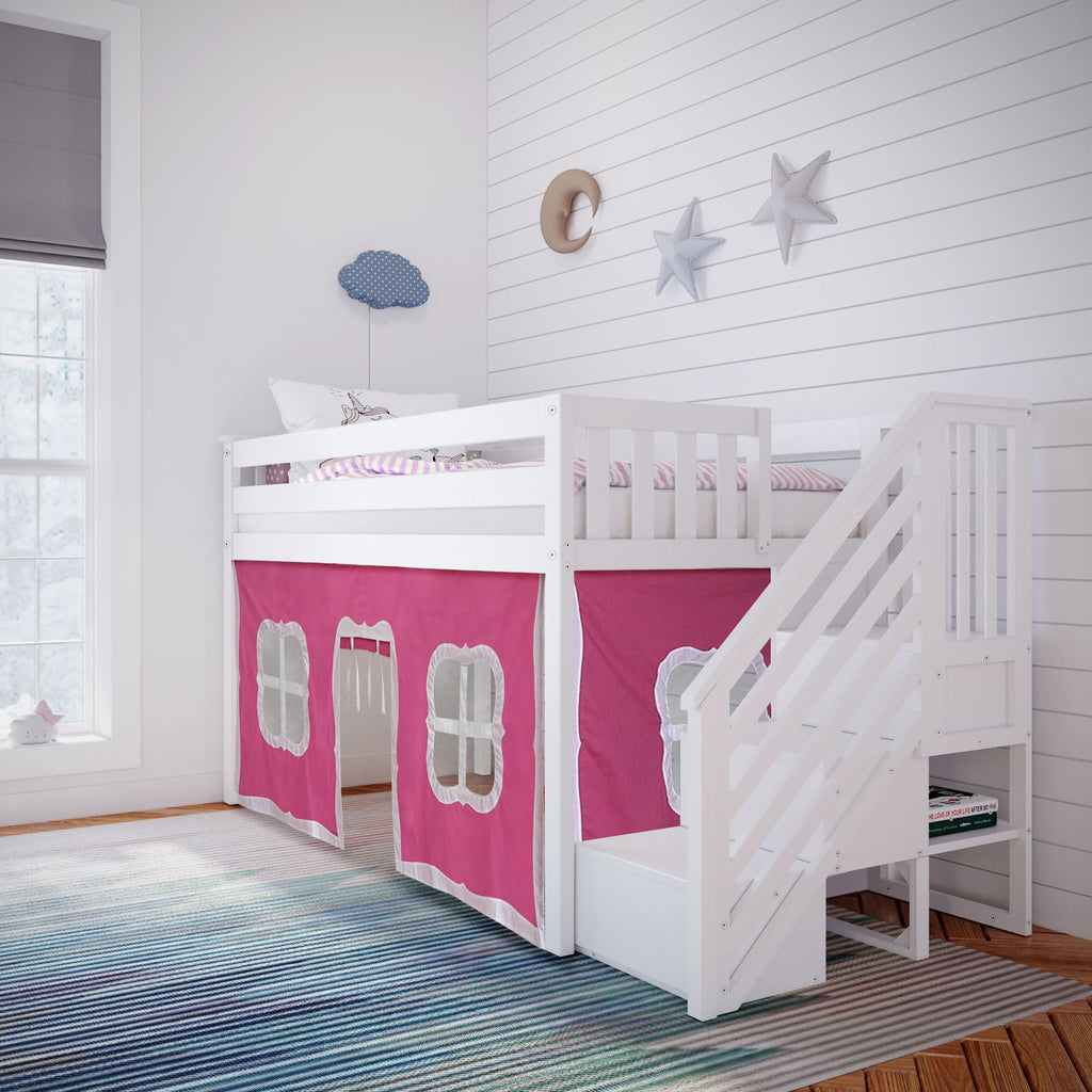 Max & Lily Twin-Size Low Loft with Stairs + Curtain Loft Beds White Pink