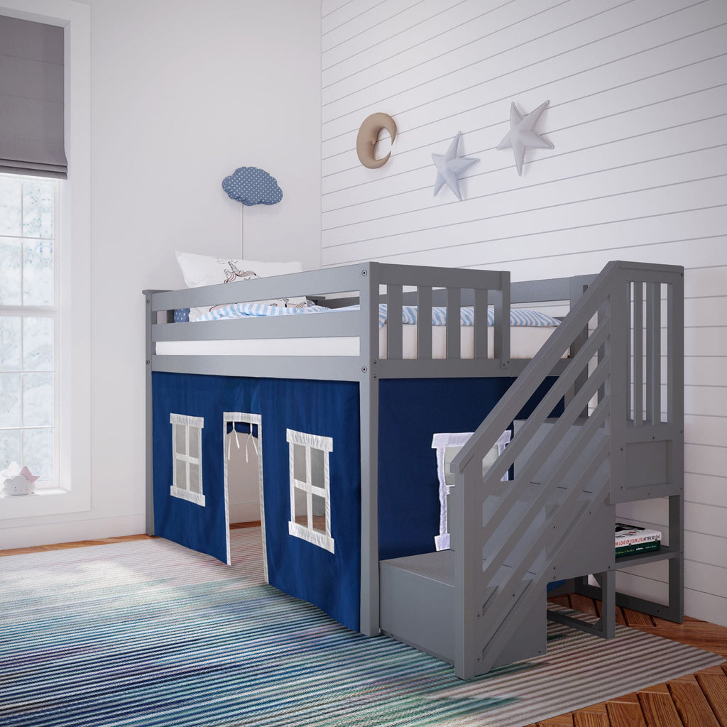 Max & Lily Twin-Size Low Loft with Stairs + Curtain Loft Beds Grey Blue