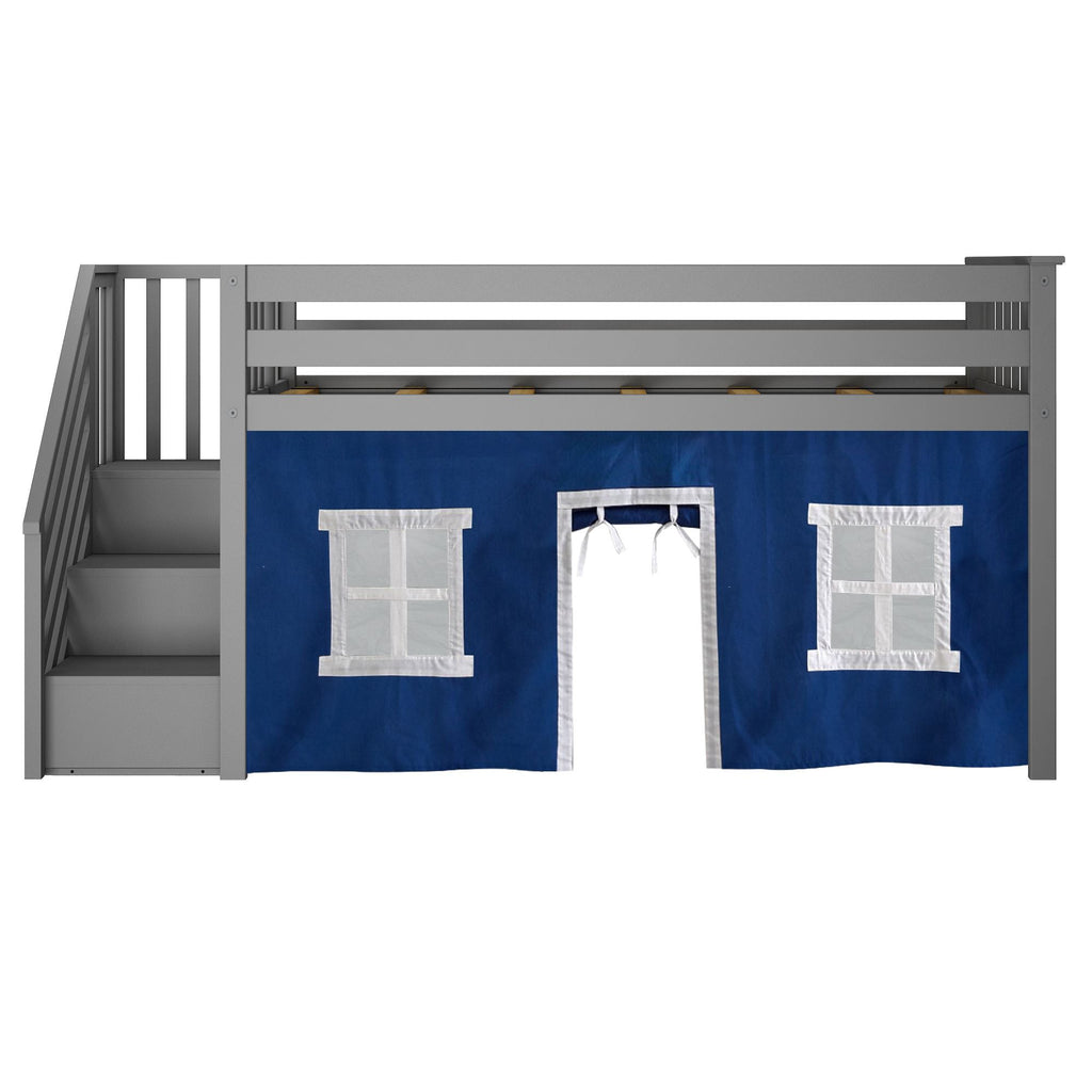 Max & Lily Twin-Size Low Loft with Stairs + Curtain Loft Beds