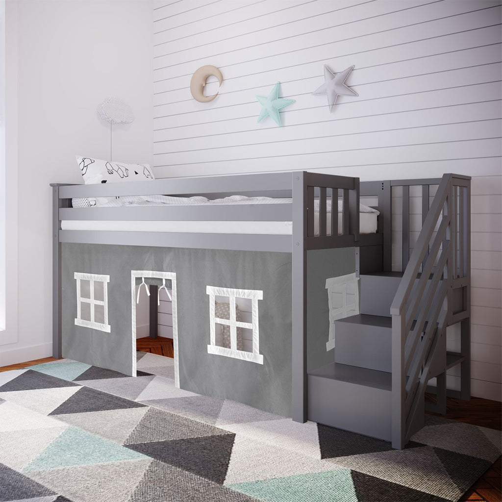 Max & Lily Twin-Size Low Loft with Stairs + Curtain Loft Beds Grey Grey