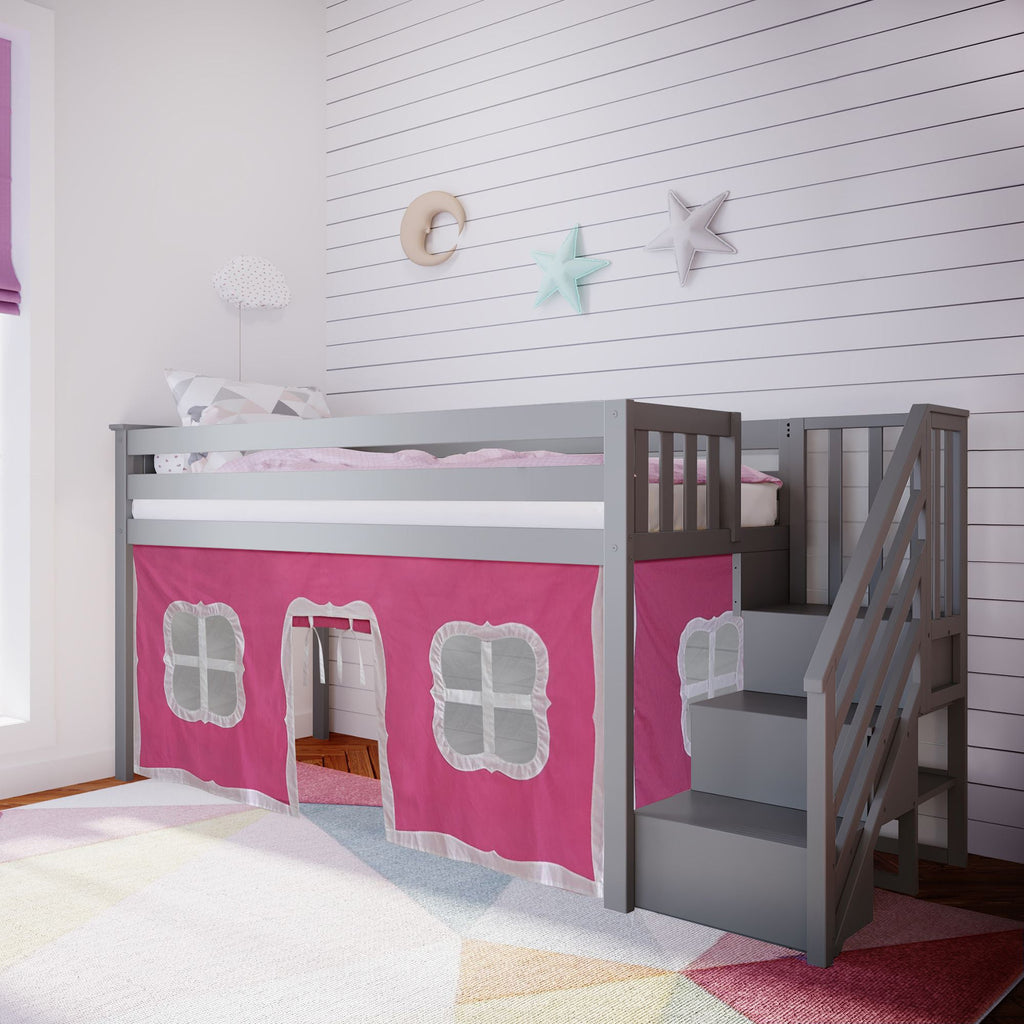 Max & Lily Twin-Size Low Loft with Stairs + Curtain Loft Beds Grey Pink