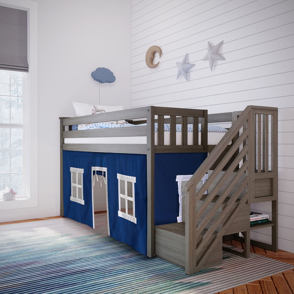 Max & Lily Twin-Size Low Loft with Stairs + Curtain Loft Beds Clay Blue