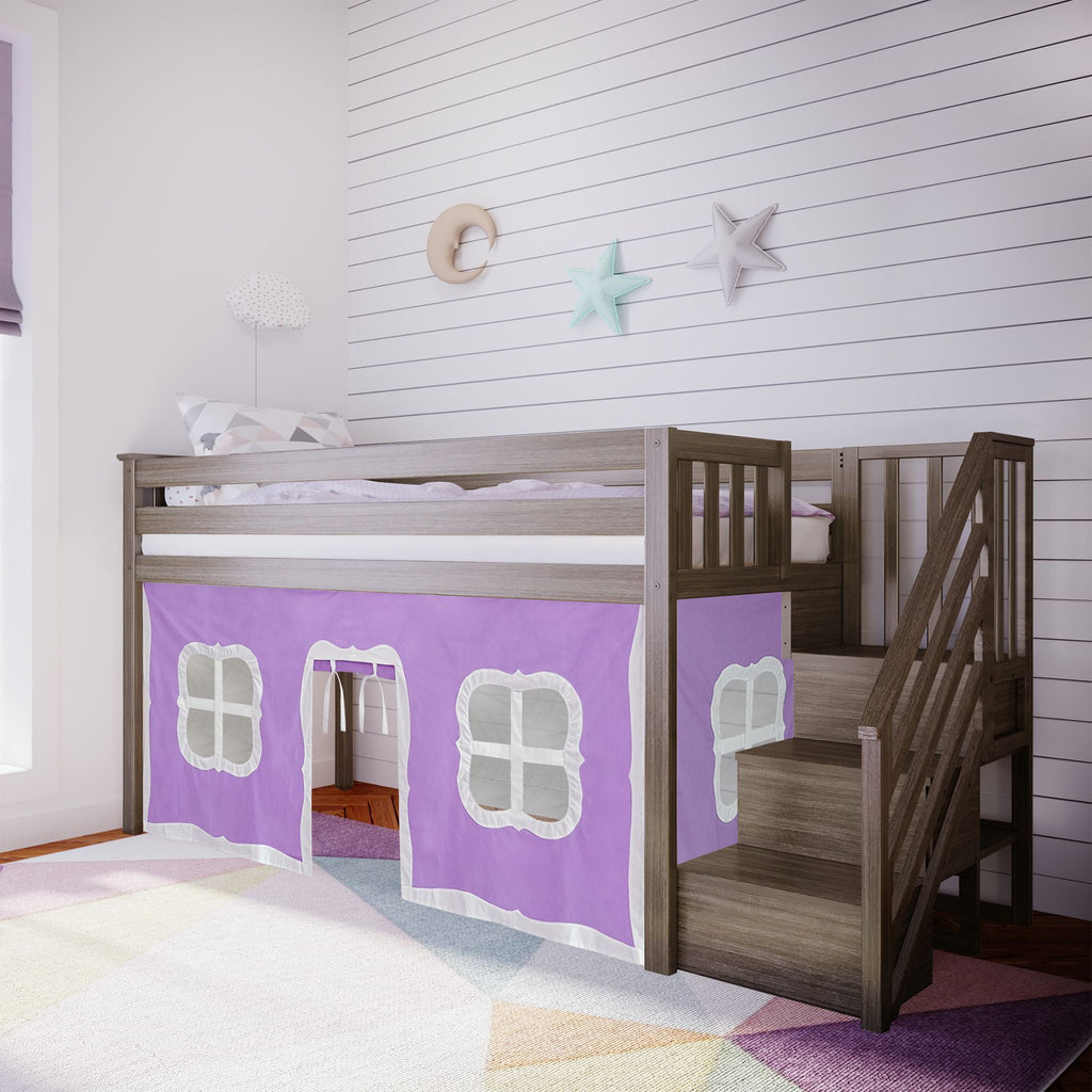 Max & Lily Twin-Size Low Loft with Stairs + Curtain Loft Beds Clay Purple