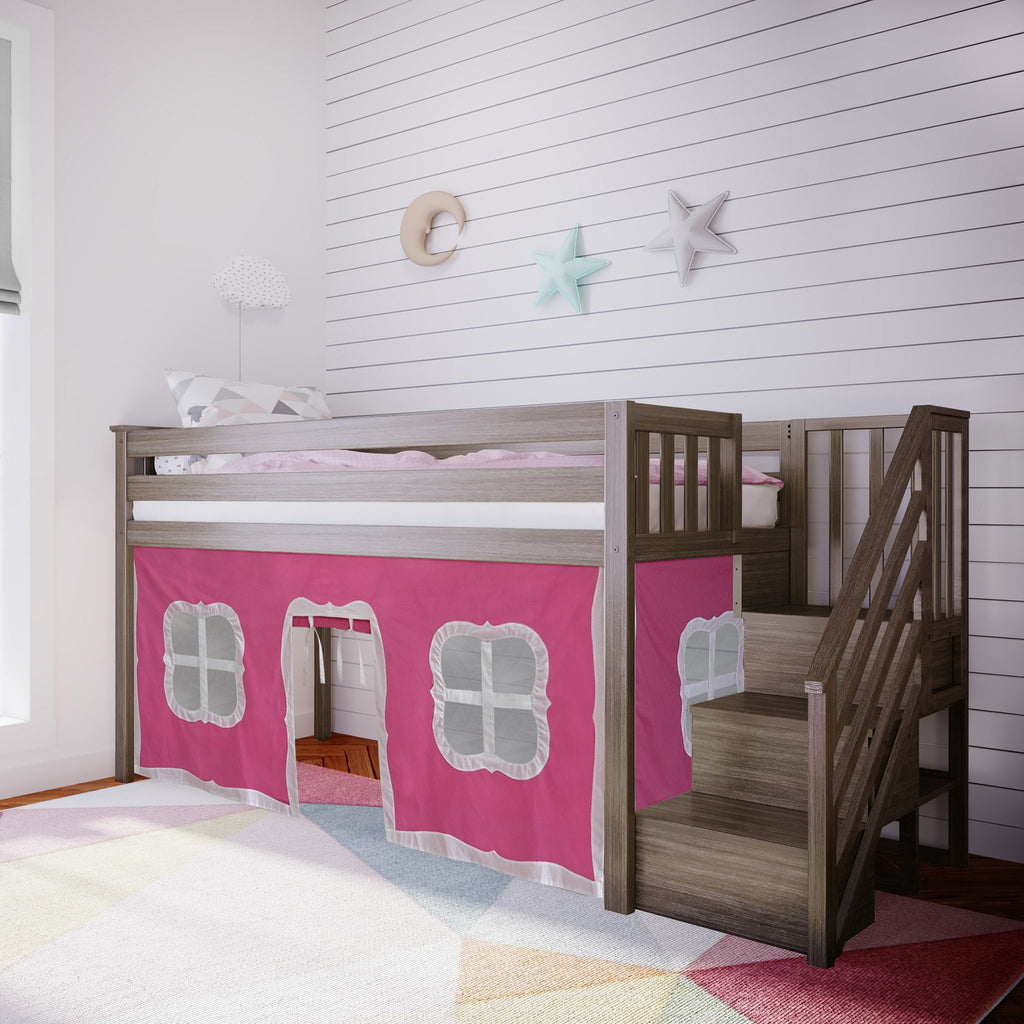 Max & Lily Twin-Size Low Loft with Stairs + Curtain Loft Beds Clay Pink