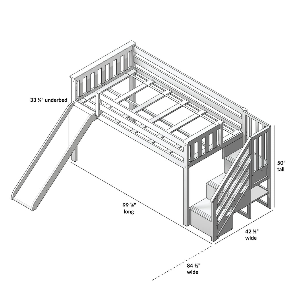 Max & Lily Kid's Twin Low Loft Bed with Stairs + Slide Loft Beds