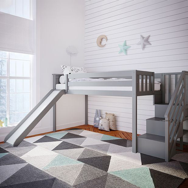 Max & Lily Kid's Twin Low Loft Bed with Stairs + Slide Loft Beds Grey