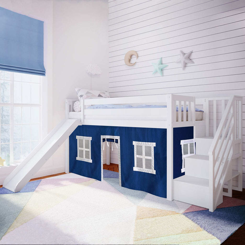 Max & Lily Twin Low Loft with Stairs and Slide with Curtains Loft Beds White Blue
