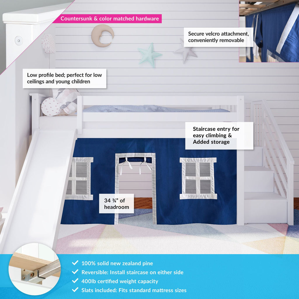 Max & Lily Twin Low Loft with Stairs and Slide with Curtains Loft Beds