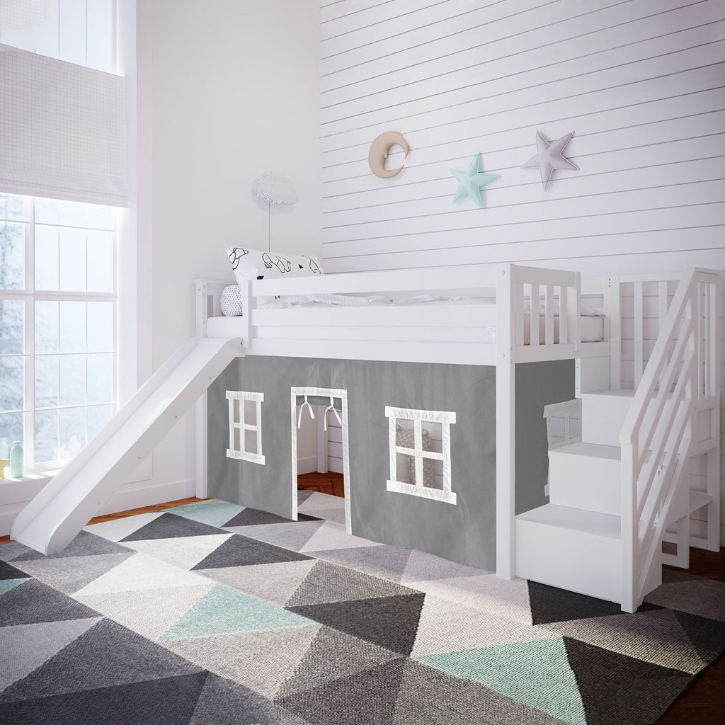 Max & Lily Twin Low Loft with Stairs and Slide with Curtains Loft Beds White Grey