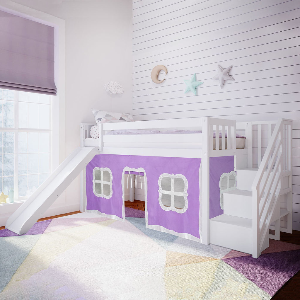 Max & Lily Twin Low Loft with Stairs and Slide with Curtains Loft Beds White Purple
