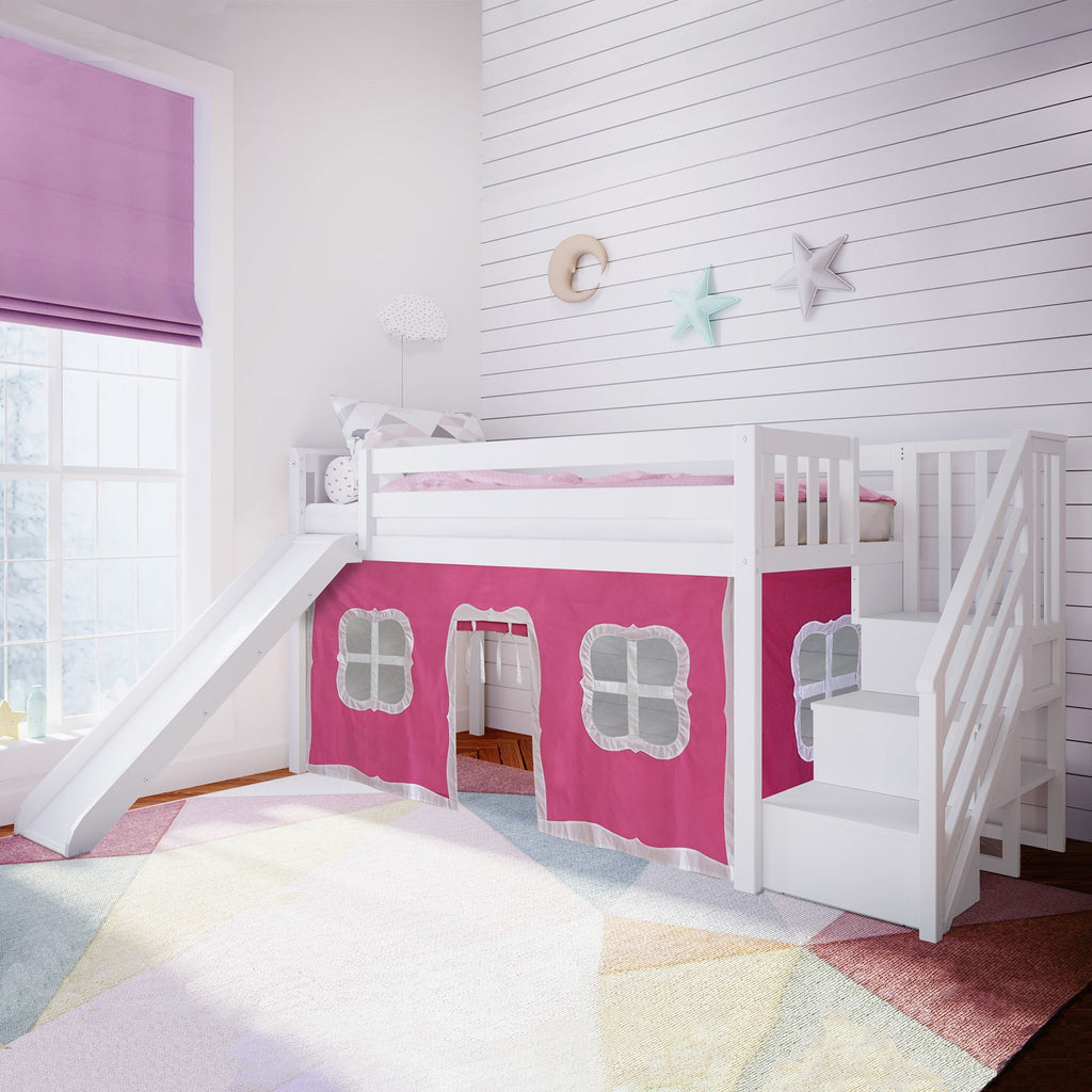Max & Lily Twin Low Loft with Stairs and Slide with Curtains Loft Beds White Pink