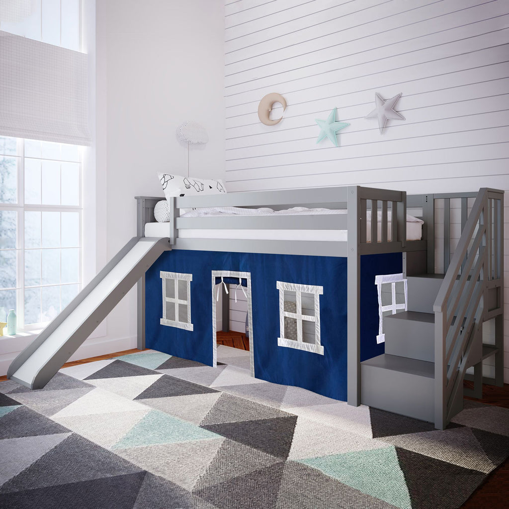 Max & Lily Twin Low Loft with Stairs and Slide with Curtains Loft Beds Grey Blue