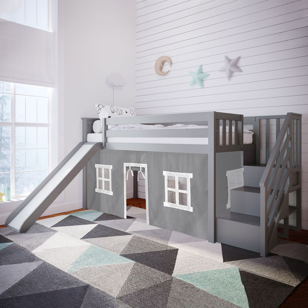 Max & Lily Twin Low Loft with Stairs and Slide with Curtains Loft Beds Grey Grey