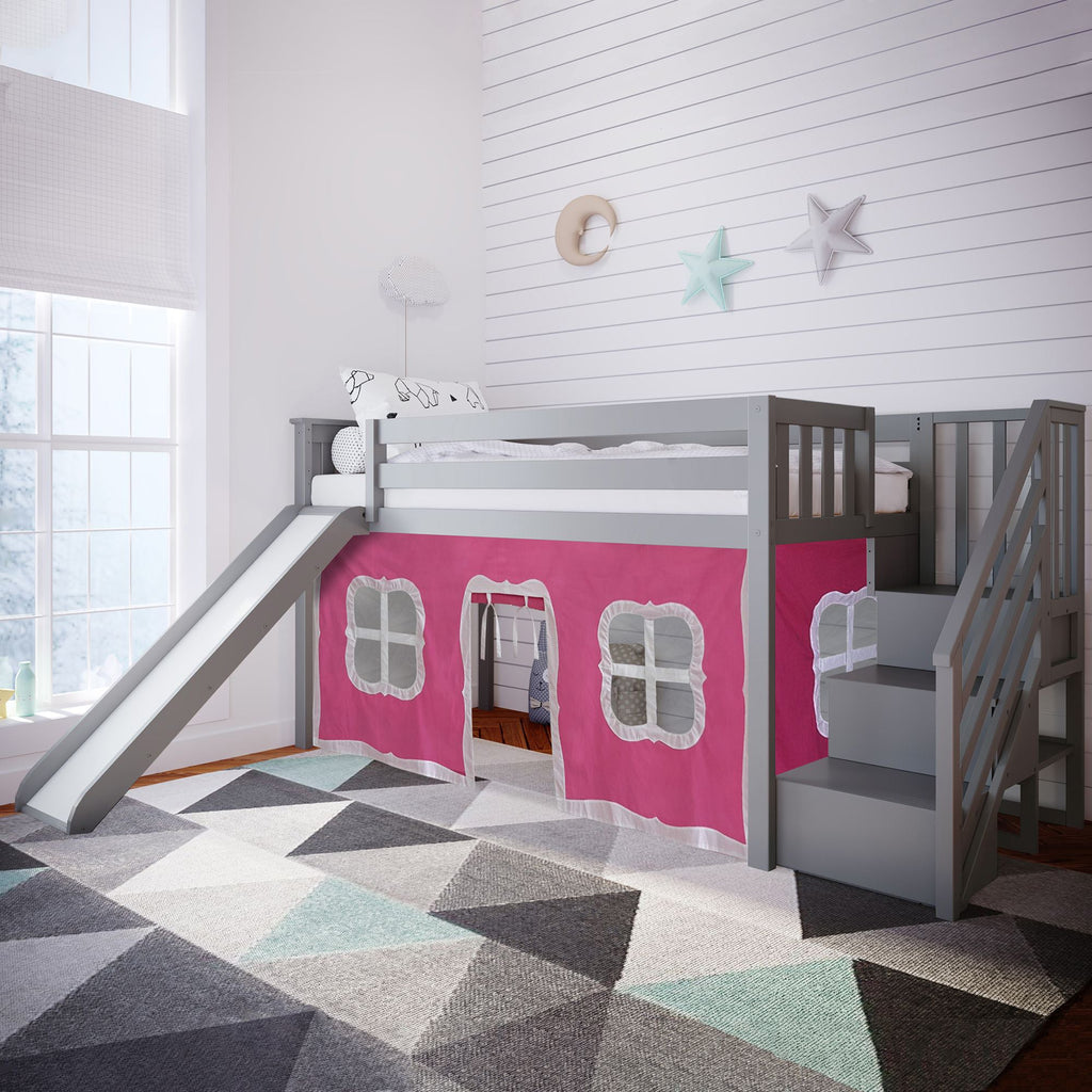 Max & Lily Twin Low Loft with Stairs and Slide with Curtains Loft Beds Grey Pink